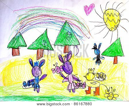 Three easter bunnies and a duck with painted eggs - children drawing