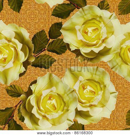 art vintage floral seamless pattern  with tea white yellow roses on ornamental golden background