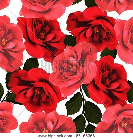 art vintage floral seamless pattern  with red roses isolated on white background