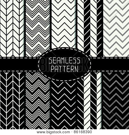 Set of monochrome fashion geometric seamless pattern with chevron. Collection of paper for scrapbook