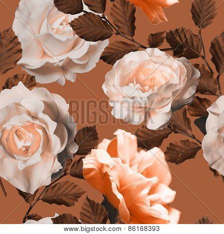 art vintage monochrome floral seamless pattern with tea white and peach roses in brown background