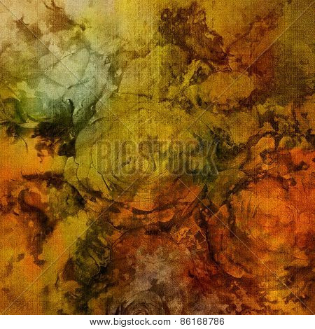 art colorful grunge floral watercolor paper textured background with roses  in gold, orange and green colors