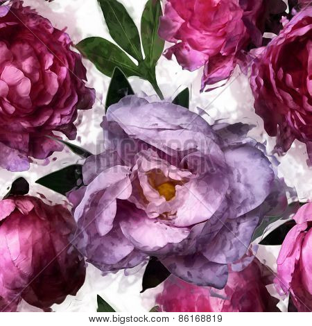 art vintage floral seamless pattern  with pink and lilac peonies isolated on white background