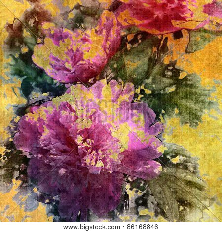 art colorful grunge floral watercolor paper textured background with peonies in gold, pink, purple and green colors