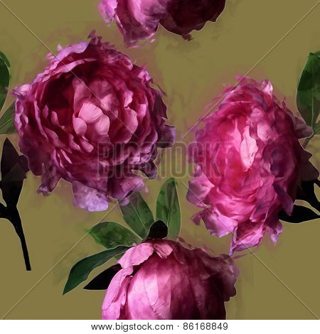 art vintage floral seamless pattern  with pink and lilac peonies on olive gold background