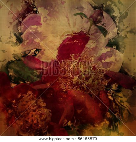 art colorful grunge floral watercolor paper textured background with peonies in purple, beige and green colors