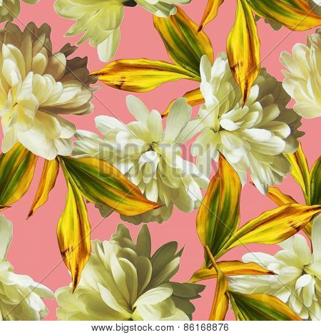 art vintage floral seamless pattern  with white asters on pink background