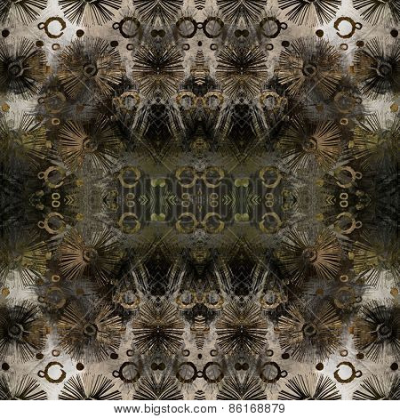 art deco ornamental vintage pattern, S.11, monochrome background in brown, beige and white colors