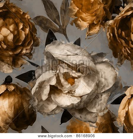 art vintage floral seamless pattern  with white and gold peonies on grey background
