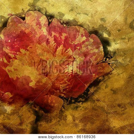 art colorful grunge floral watercolor paper textured background with peonies in gold, pink and green colors