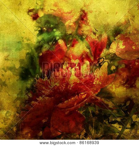 art colorful grunge floral watercolor paper textured background with peonies in gold, purple and green colors