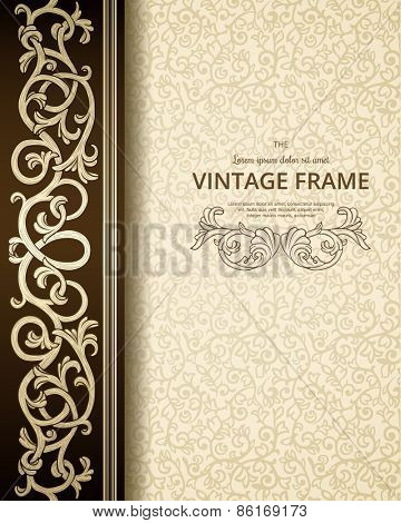 Vintage background with golden ornament.