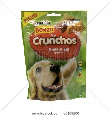 Netherlands - Delft - Circa February 2015: Bonzo Crunchos Dog Isolated On White Background.