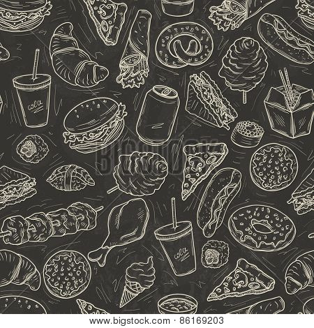 Seamless pattern with lot of fast food on blackboard