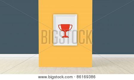 3D Render, Cup Sign On Frame