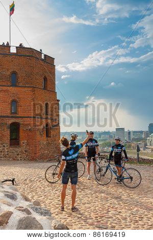 Cyclists are photographed in Castle Hill, Vilnius, Lithuania