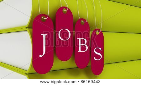 Job Tag Hanging With Book, Employement Concept