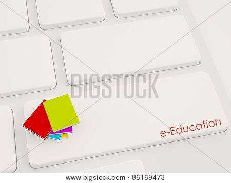 3D Render Of Multiple Book On The Keyboard, E-education Concept