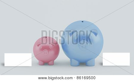 Two Piggy Banks With Blank White Card