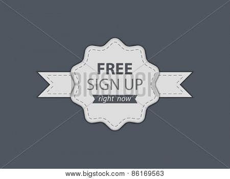 Free Sign Up badge. Vector illustration