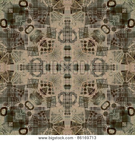 art deco ornamental vintage pattern, S.8, monochrome background in beige, brown, grey  and black colors