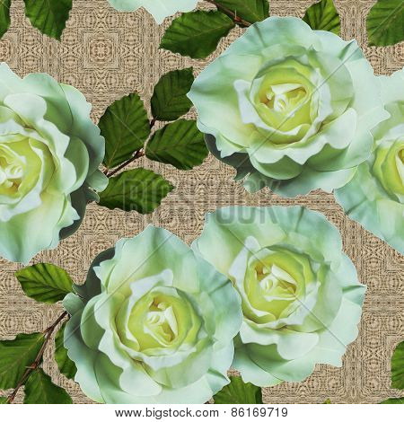 art vintage floral seamless pattern  with tea white roses on ornamental beige background