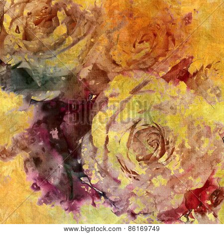 art colorful grunge floral watercolor paper textured background with roses in gold, purple, orange, brown and grey colors