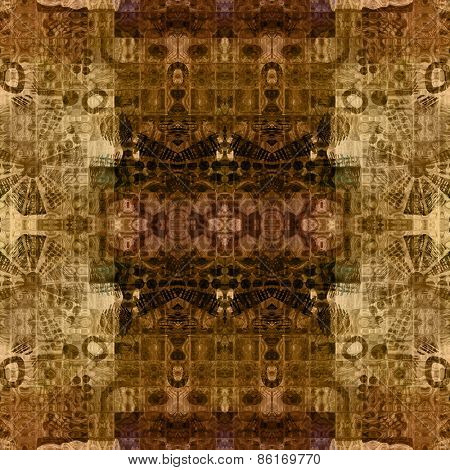 art deco ornamental vintage pattern, S.6, monochrome background in beige and brown colors