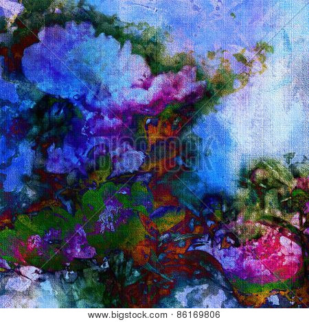 art colorful grunge floral watercolor paper textured background with peonies in blue, green, purple and pink colors
