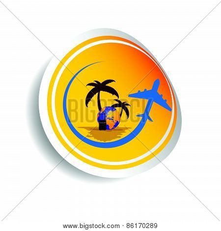 Sticker Travel With Airplane Color Vector