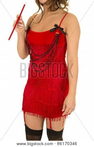 Flapper Girl In Red With Cigarette Body