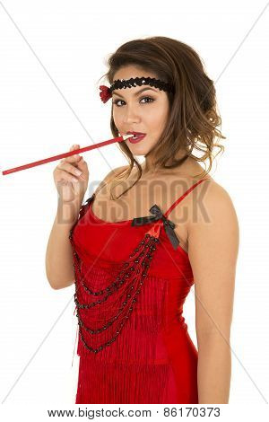 Flapper Girl In Red With Cigarette In Mouth Looking