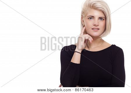 Pretty Woman Posing In Trendy Black Shirt