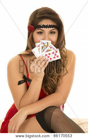 Flapper Girl With Cards In Front Of Face