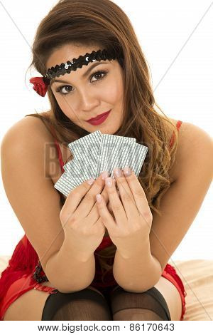 Flapper Girl With Cards Look Slight Smile