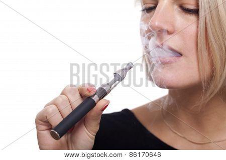 Close Up Blond Woman Smoking Using E- Cigarette