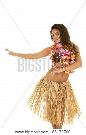 Hawaiian Woman In Grass Skirt And Coconut Bra Dancing