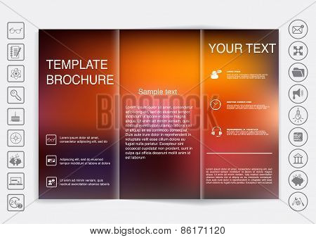 Tri-fold Brochure Mock Up Vector Design. Blur Background.