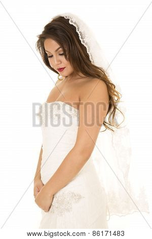 Woman In Wedding Dress Stand Side Hands Down