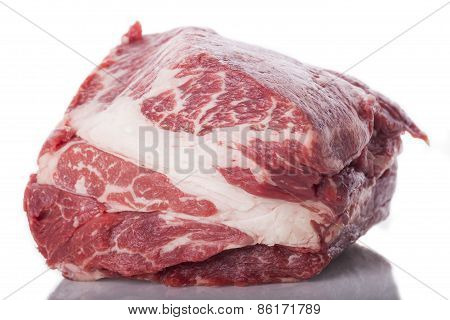 Fresh Slice Of Beef Meat On White Background