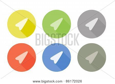 Collection of pointer arrow symbol rounded icons with shadow different colors