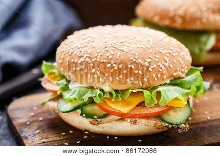 Cesare burger on wooden board
