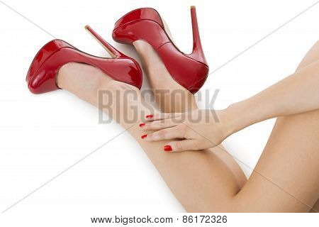 womans legs in high heels