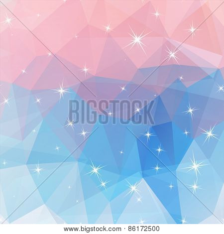 Polygonal Abstract Geometry Background With Shiny Elements