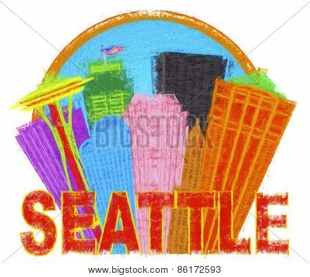 Seattle Abstract Skyline In Circle Impressionist Illustration