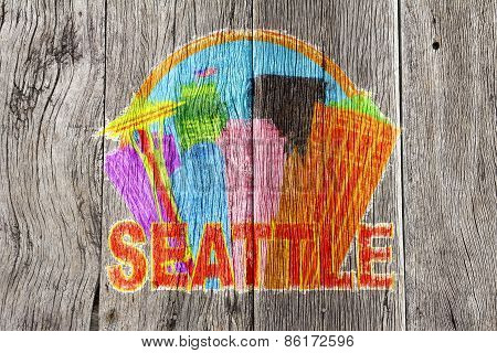 Seattle Abstract Skyline In Circle Wood Background Illustration