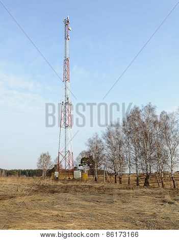 Country Spring Landscape With Cellular Tower