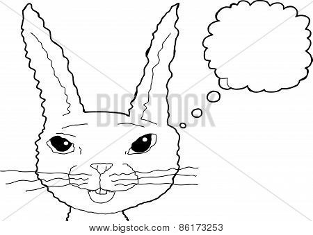Thinking Smiling Outlined Rabbit