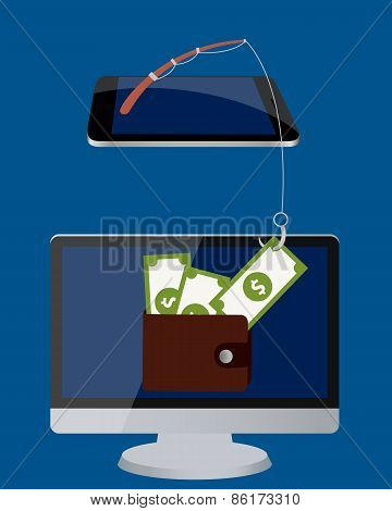 Stealing the money. Computer with money in wallet and mobile phone with a fishing rod. Vector illust
