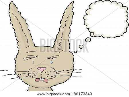 Crying Rabbit With Thought Bubble